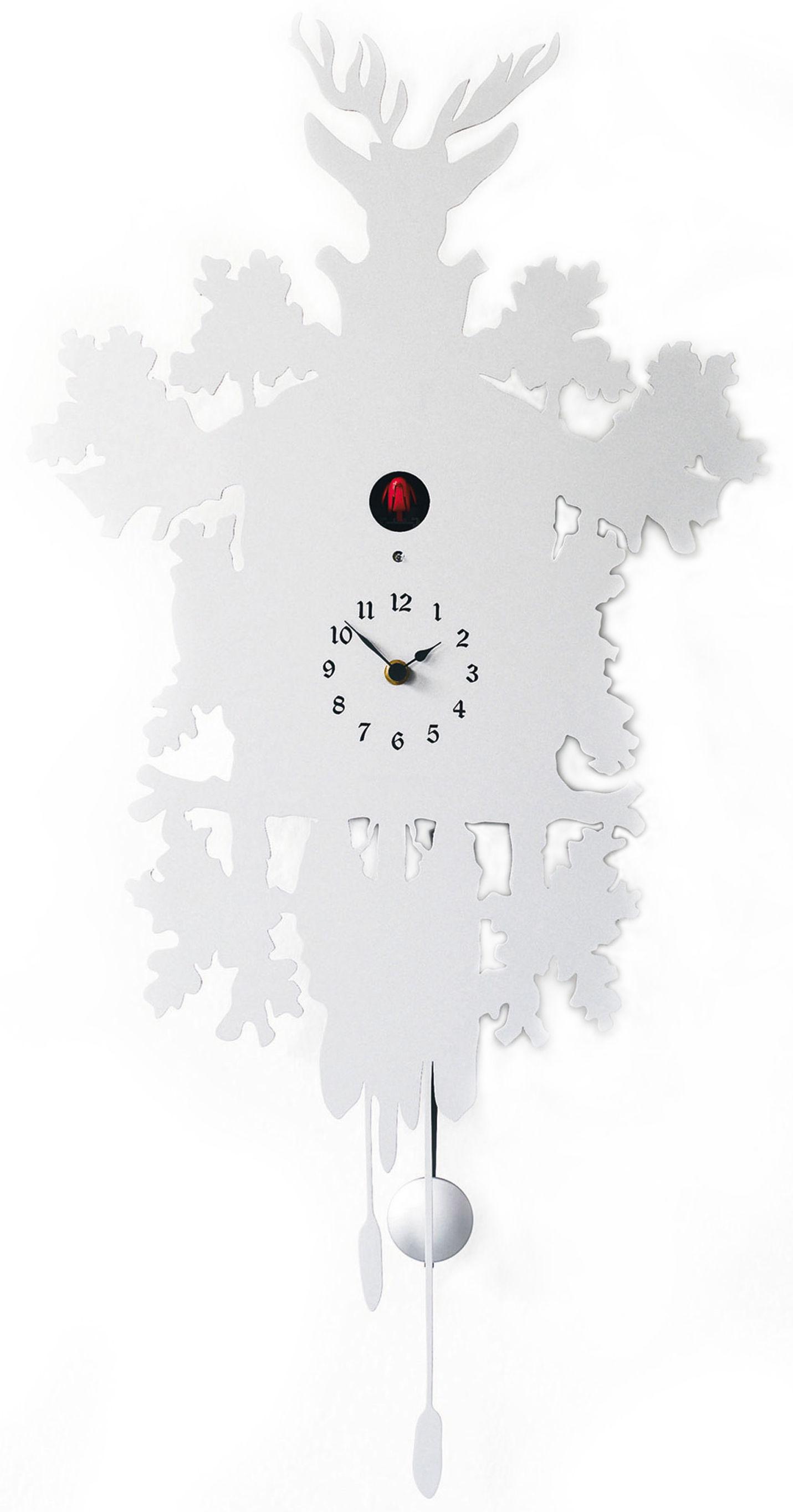 Déco - Horloges  - Horloge murale Cucù / Avec balancier - H 81 cm - Diamantini & Domeniconi - Blanc - Acier inoxydable laqué