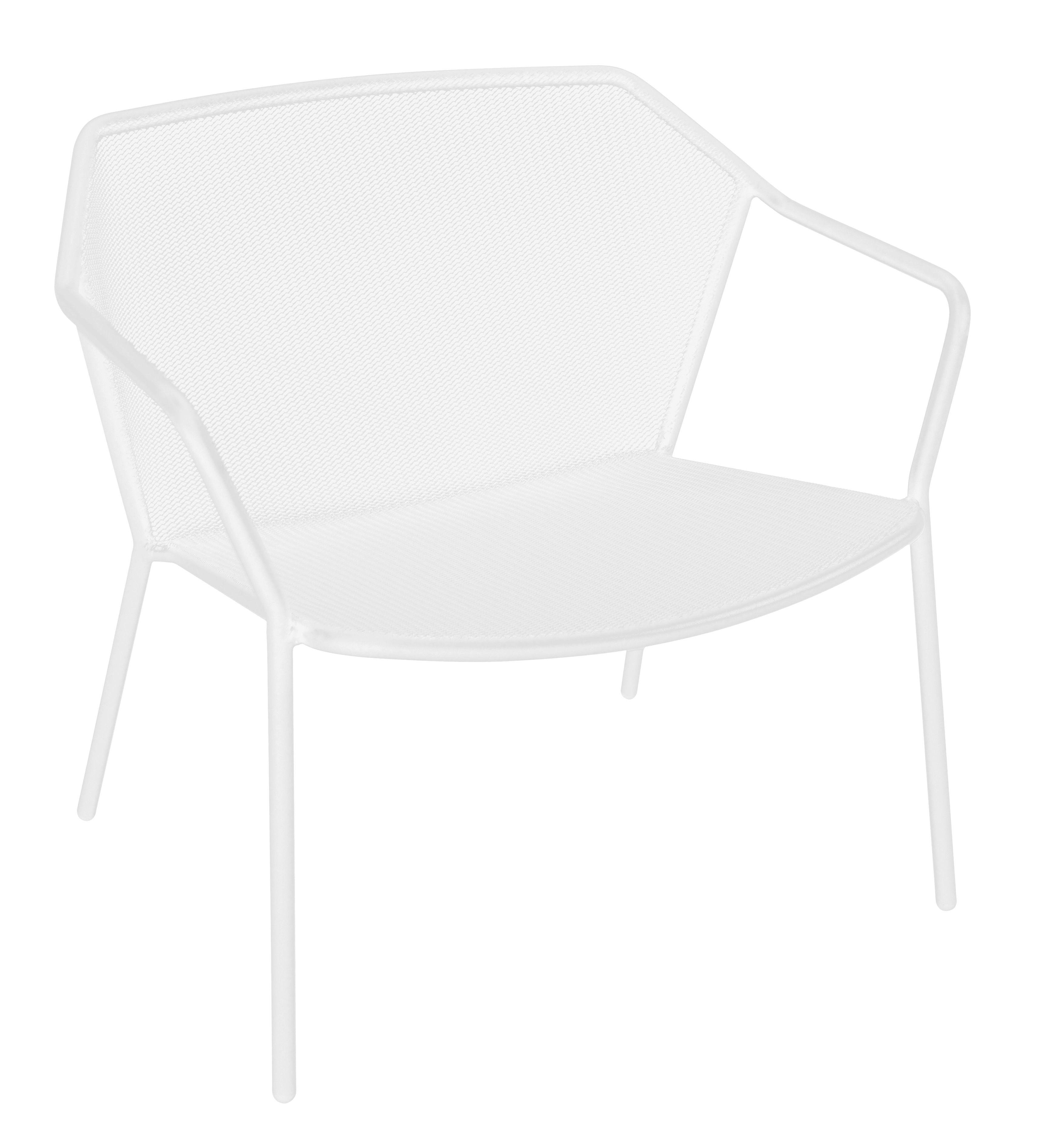 Furniture - Armchairs - Darwin Low armchair - Metal by Emu - White - Varnished steel