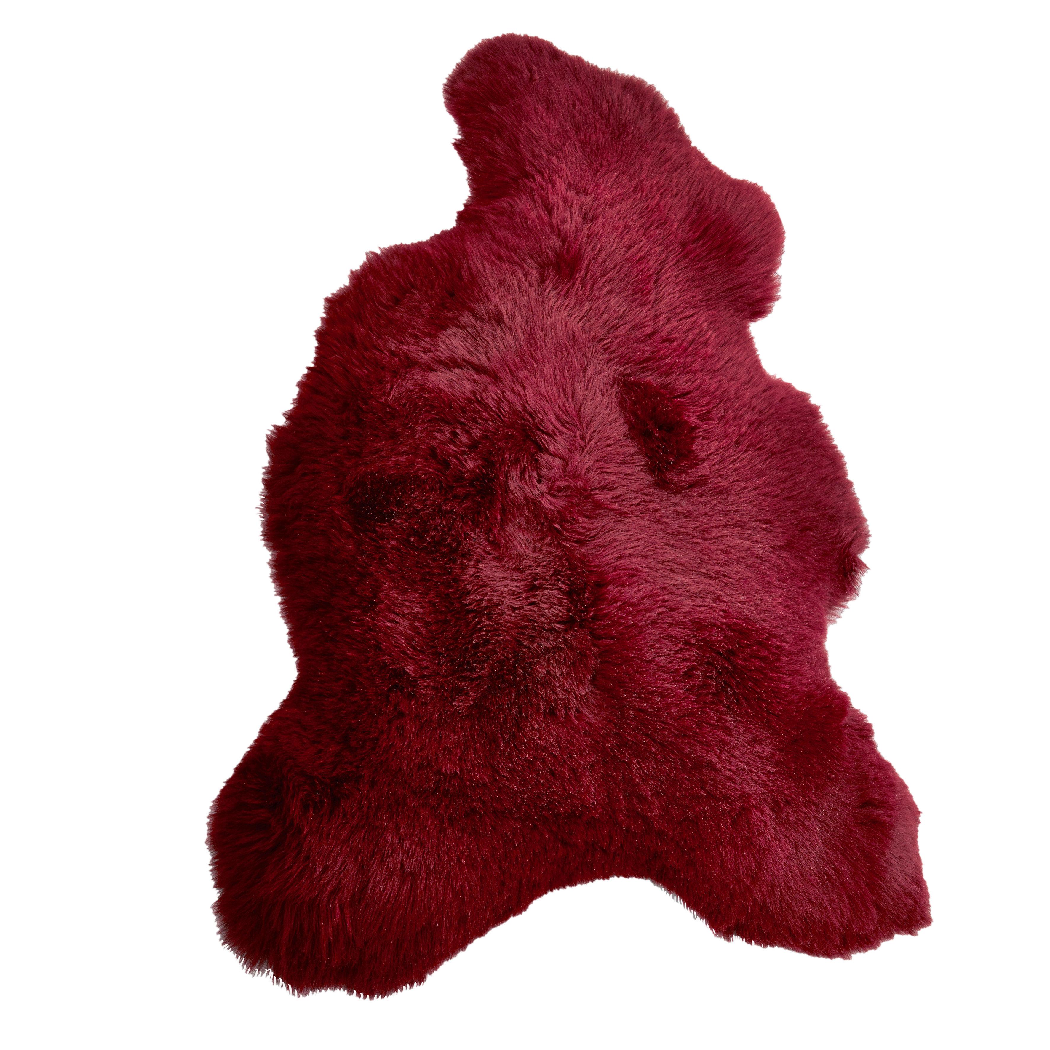 Déco - Tapis - Peau de mouton véritable / 100 x 70 cm - Pols Potten - Bordeaux - Peau de mouton teintée
