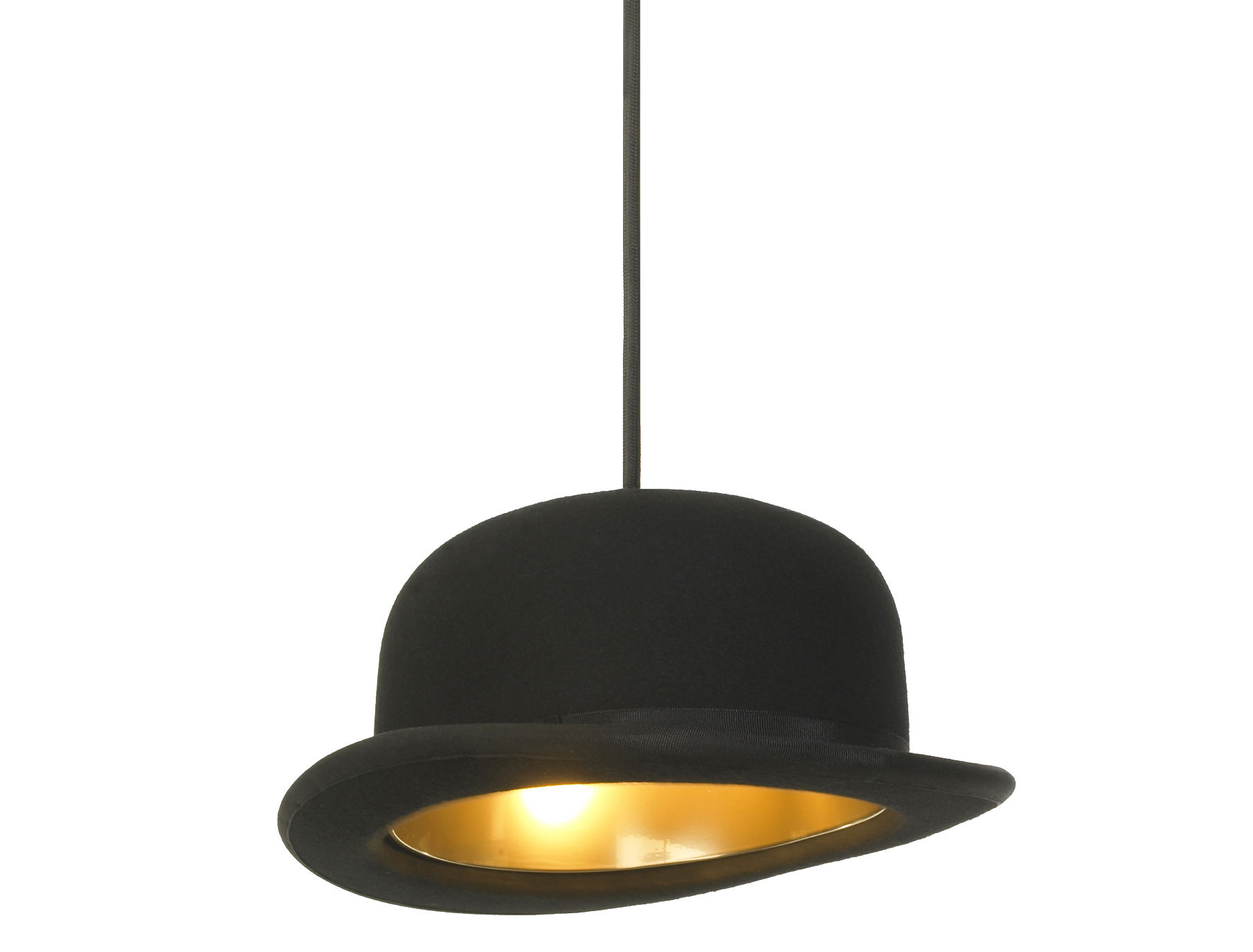 Lighting - Pendant Lighting - Jeeves Pendant by Innermost - Black bowler - Gold inside - Anodized aluminium, Felted wool