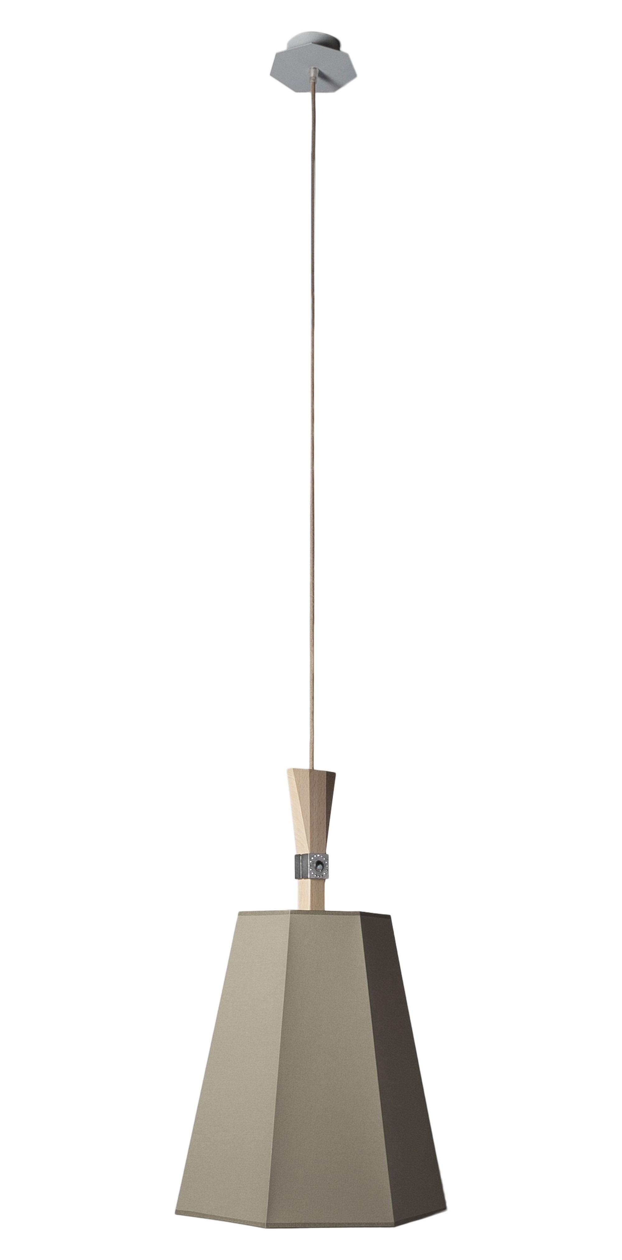 Leuchten - Pendelleuchten - LuXiole Pendelleuchte Ø 40 cm - Designheure - Lampenschirm khaki / Innenseite weiß - Baumwolle, Buchenfurnier