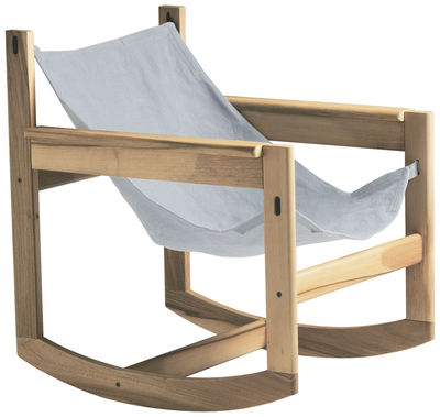 Furniture - Armchairs - Pelicano Rocking chair - Rocking chair by Objekto - Oak structure / Natural cotton cover - Cotton, Oak