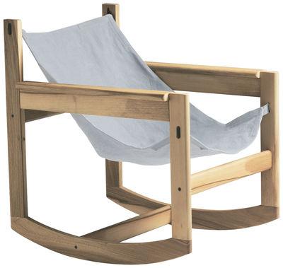 Mobilier - Fauteuils - Rocking chair Pelicano - Objekto - Structure chêne / Housse coton Naturel - Chêne, Coton