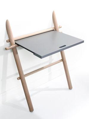Arredamento - Mobili da ufficio - Scrivania Appunto - pieghevole / Tavolino di ENOstudio - Faggio / top grigio - Faggio massello, Faggio verniciato