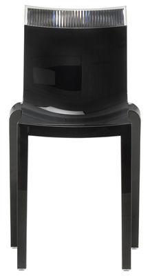 Arredamento - Sedie  - Sedia impilabile Hi Cut - Struttura nera laccata di Kartell - Nero laccato / trasparente - policarbonato