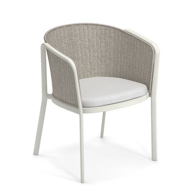 Möbel - Stühle  - Carousel Sessel / Synthetikseil & Metall - Emu - Mattweiß / Elfenbeinfarbes Seil - Aluminium, Synthetisches Seil