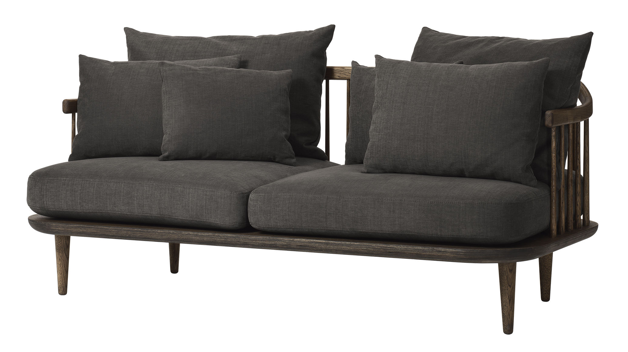 Möbel - Sofas - FLY Sofa / 2-Sitzer - L 162 cm - And Tradition - Dunkles Holz / dunkelgraue Kissen -  Plumes, geölte Eiche, Gewebe, Schaumstoff