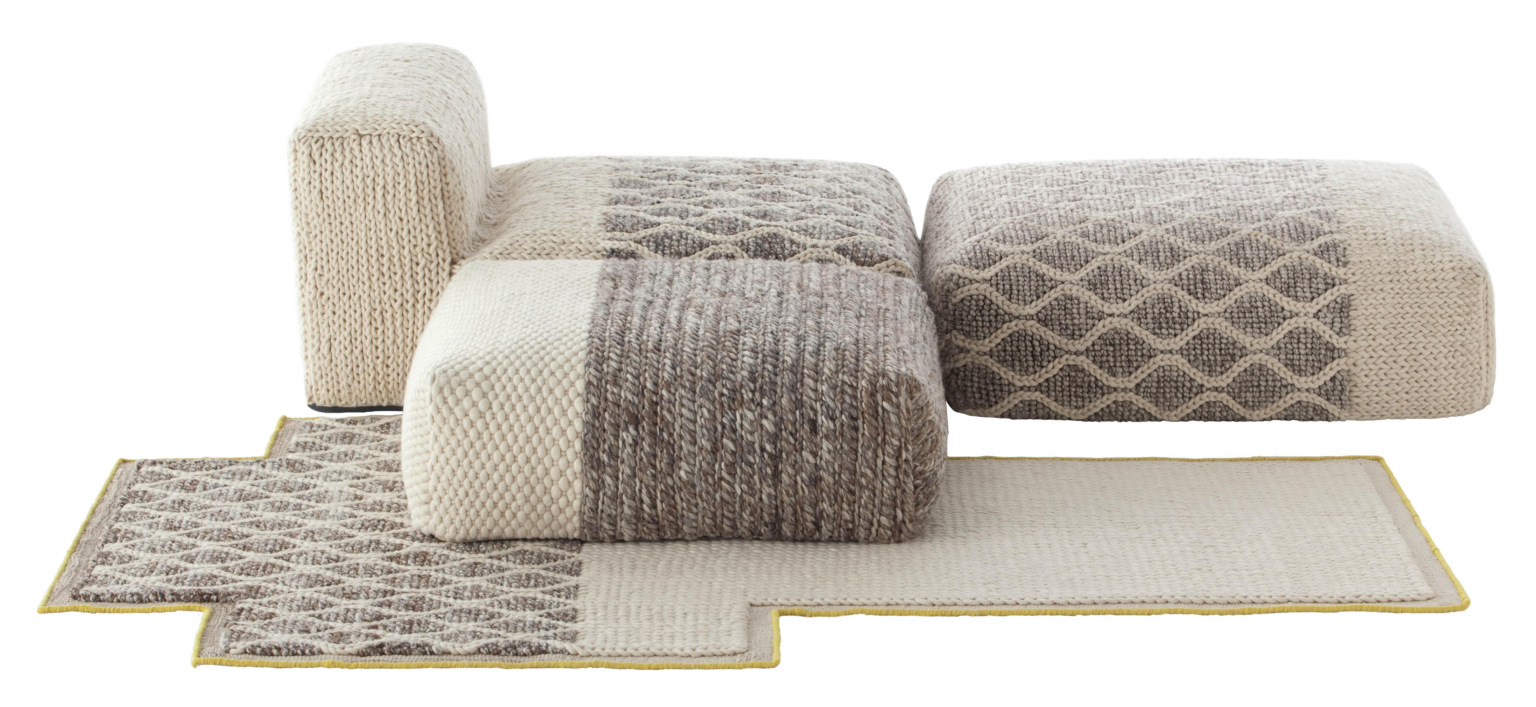 Möbel - Lounge Sessel - n°2 Mangas Space Sofa modulierbar / 1 Chaiselongue + 2 Sitzhocker + 1 Teppich - Gan - Elfenbeinfarben - Laine vierge, Mousse caoutchouc