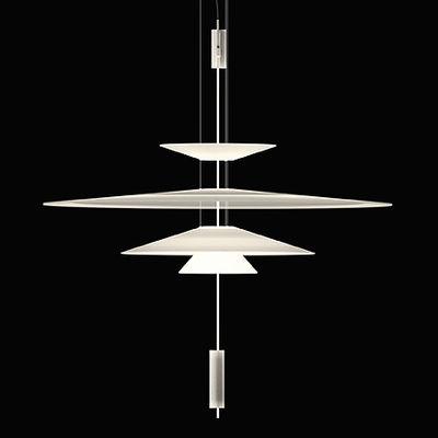 Illuminazione - Lampadari - Sospensione Flamingo - LED / Ø 90 cm di Vibia - Bianco / Bianco - Acrilico, Metacrilato, Metallo
