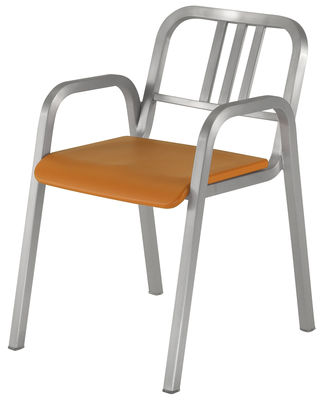 Furniture - Chairs - Nine-O Stackable armchair - Aluminium & polyurethane seat by Emeco - Brushed aluminium / Orange - Aluminium recyclé, Polyurethane