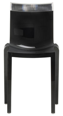 Furniture - Chairs - Hi Cut Stacking chair - Black polycarbonate by Kartell - Lacquered black / cristal - Polycarbonate