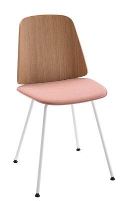 Möbel - Stühle  - June Stuhl / 4 pieds - Tissu & Bois - Zanotta - Rosa Sitz / weißes Gestell / Rückenlehne aus natürlicher Eiche - gefirnister Stahl, Gewebe, klarlackbeschichtete Eiche
