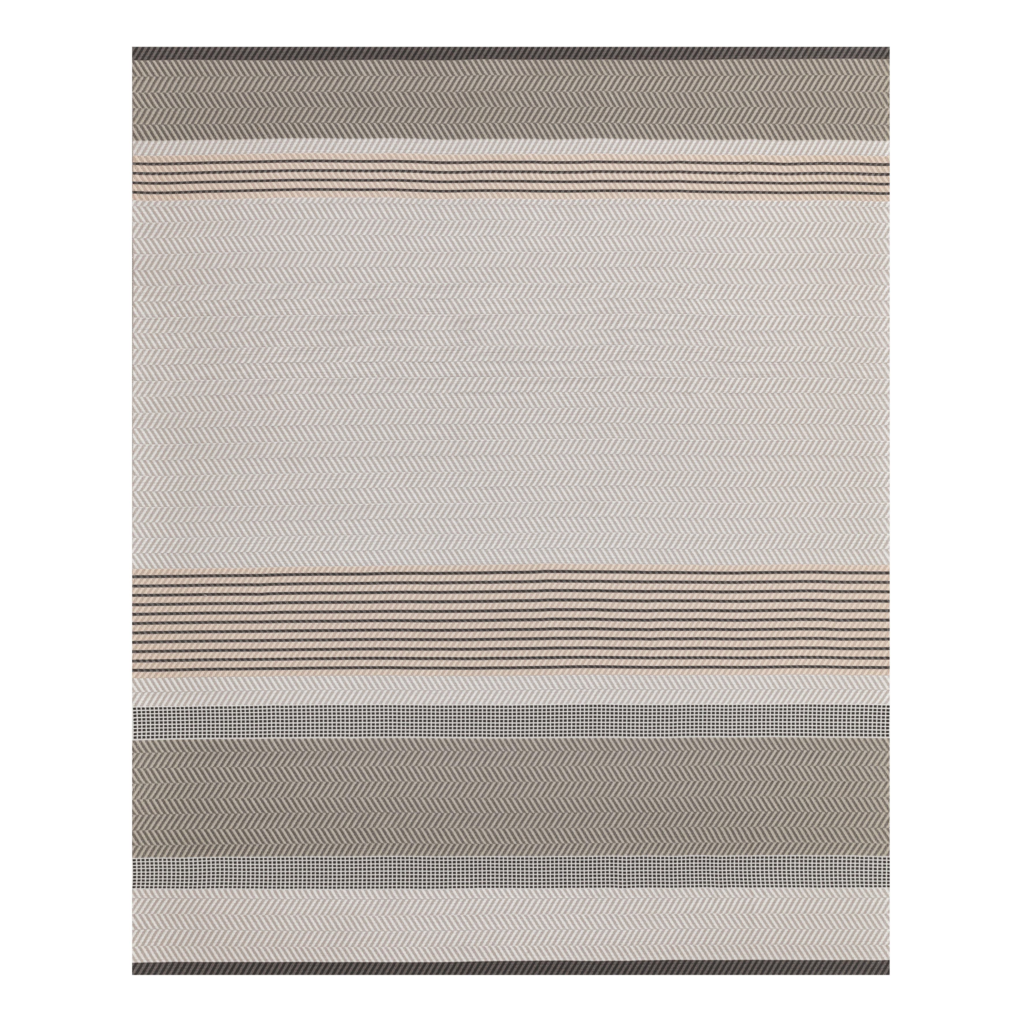 Déco - Tapis - Tapis d'extérieur Toundra / 200 x 300 cm - Fibre polyester - Vincent Sheppard - Gris & rose pâle - Fibre de polyester (structure tissée à plat)