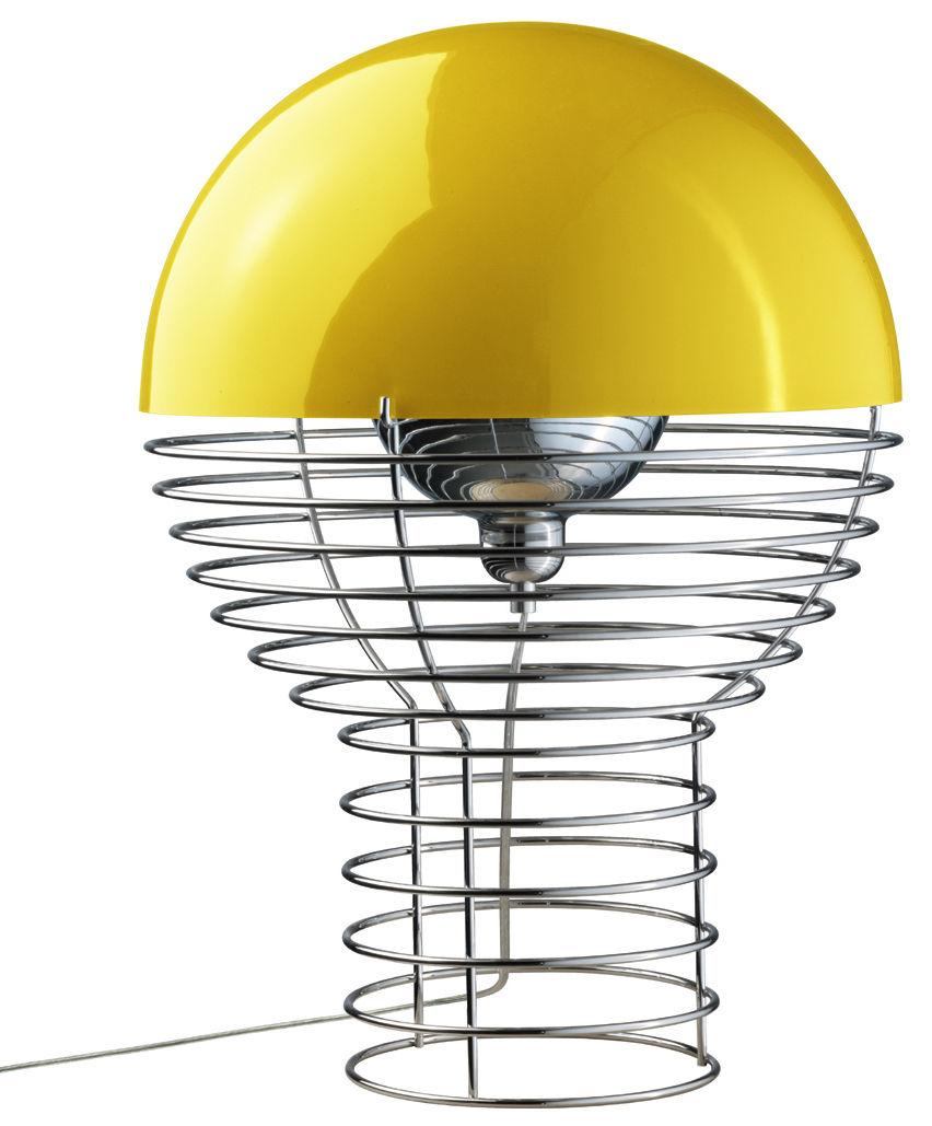 Leuchten - Tischleuchten - Wire Tischleuchte Höhe 54 cm - Panton 1972 - Verpan - H 54 cm - gelb - Metall, Polykarbonat