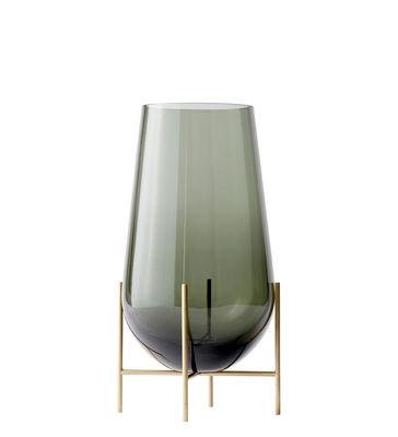Déco - Vases - Vase Echasse Medium / H 45 cm - Menu - H 45 cm / Fumé & Laiton - Laiton massif, Verre