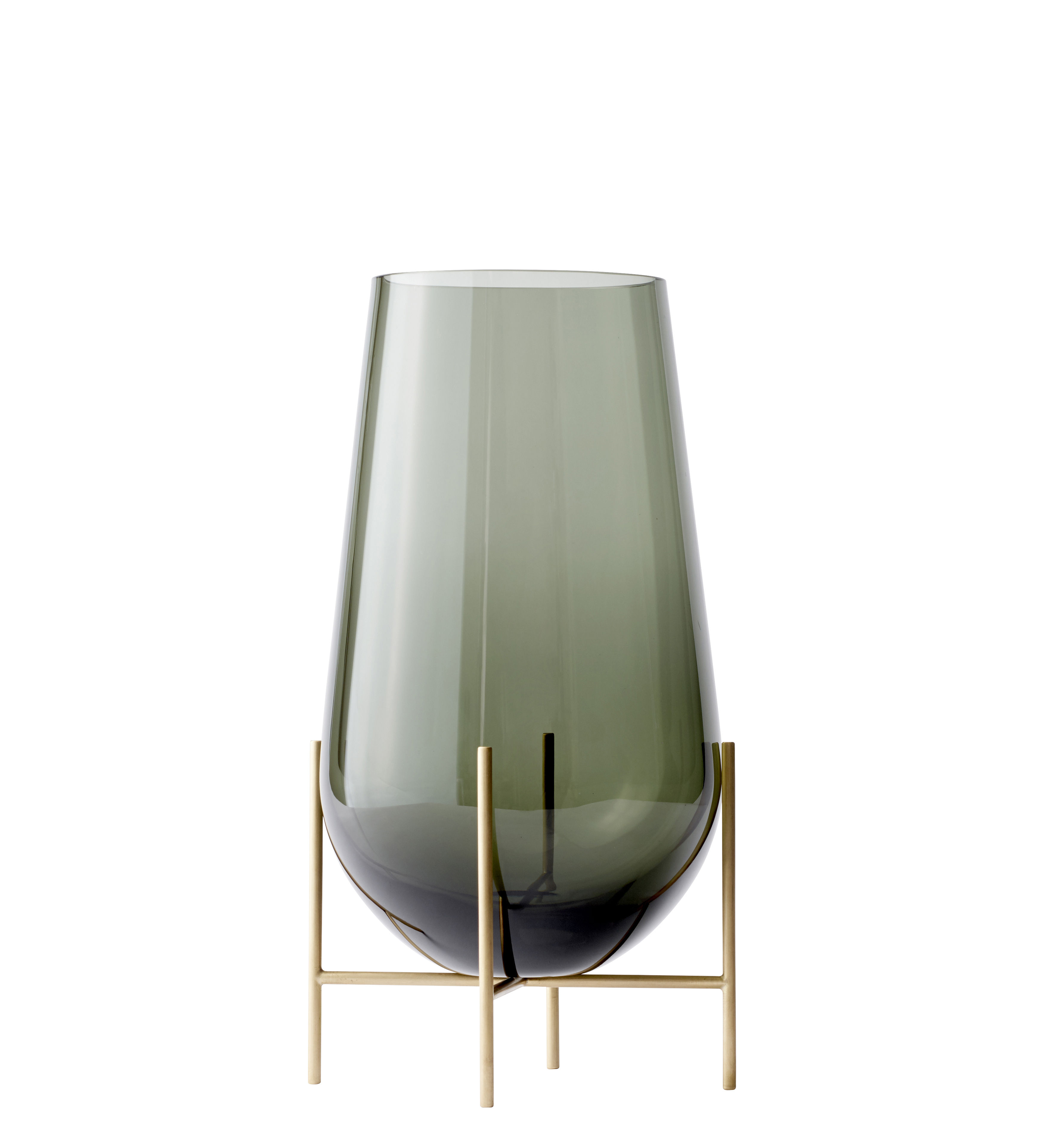 Decoration - Vases - Echasse Medium Vase - / H 45 cm by Menu - H 45 cm / Smoked glass & Brass - Glass, Solid brass