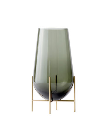 Interni - Vasi - Vaso Echasse Medium - / H 45 cm di Menu - H 45 cm / Fumé & ottone - Ottone massiccio, Vetro