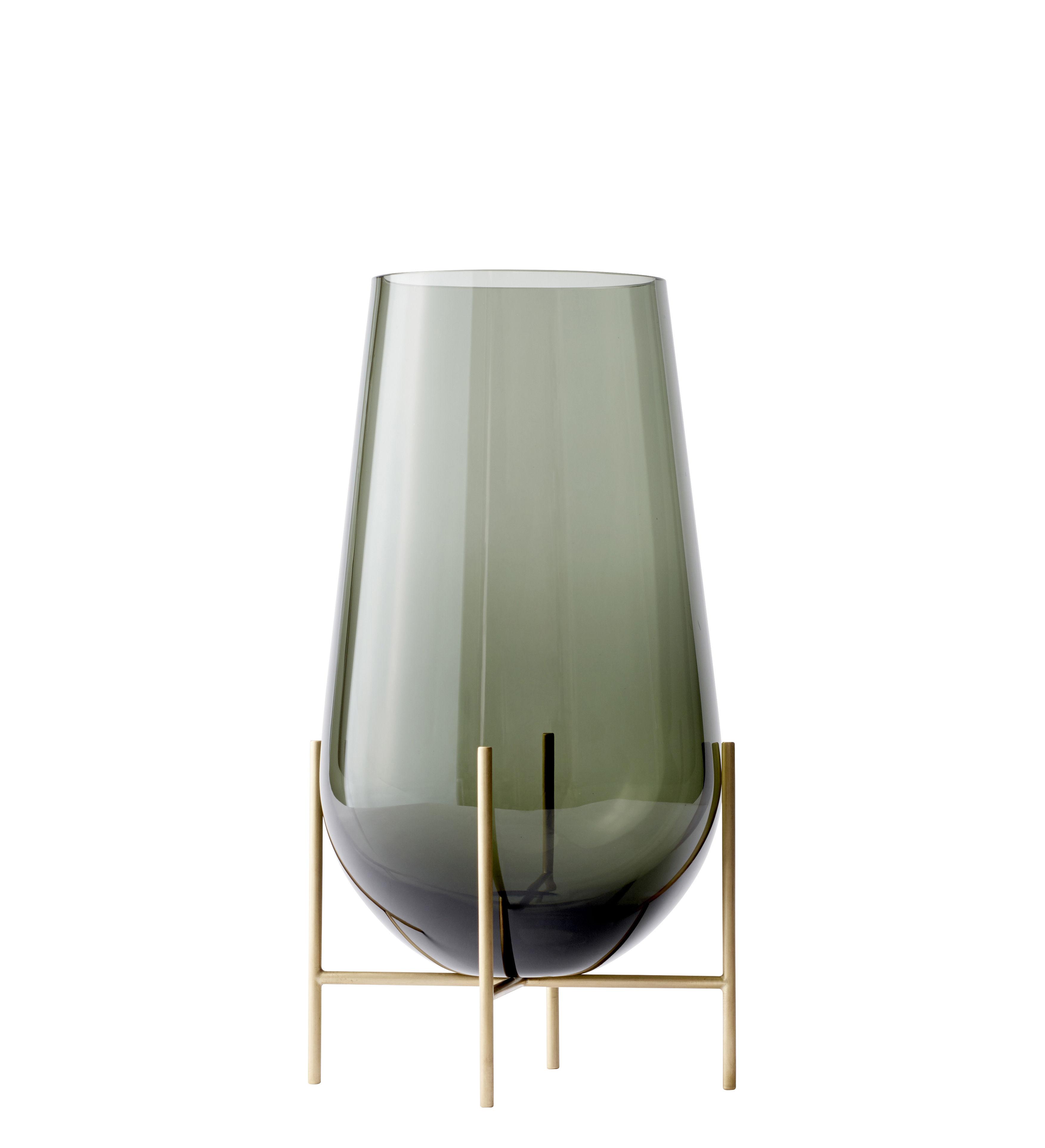 Interni - Vasi - Vaso Echasse Medium - / H 45 cm di Menu - H 45 cm / Fumé & ottone - Laiton massif, Vetro