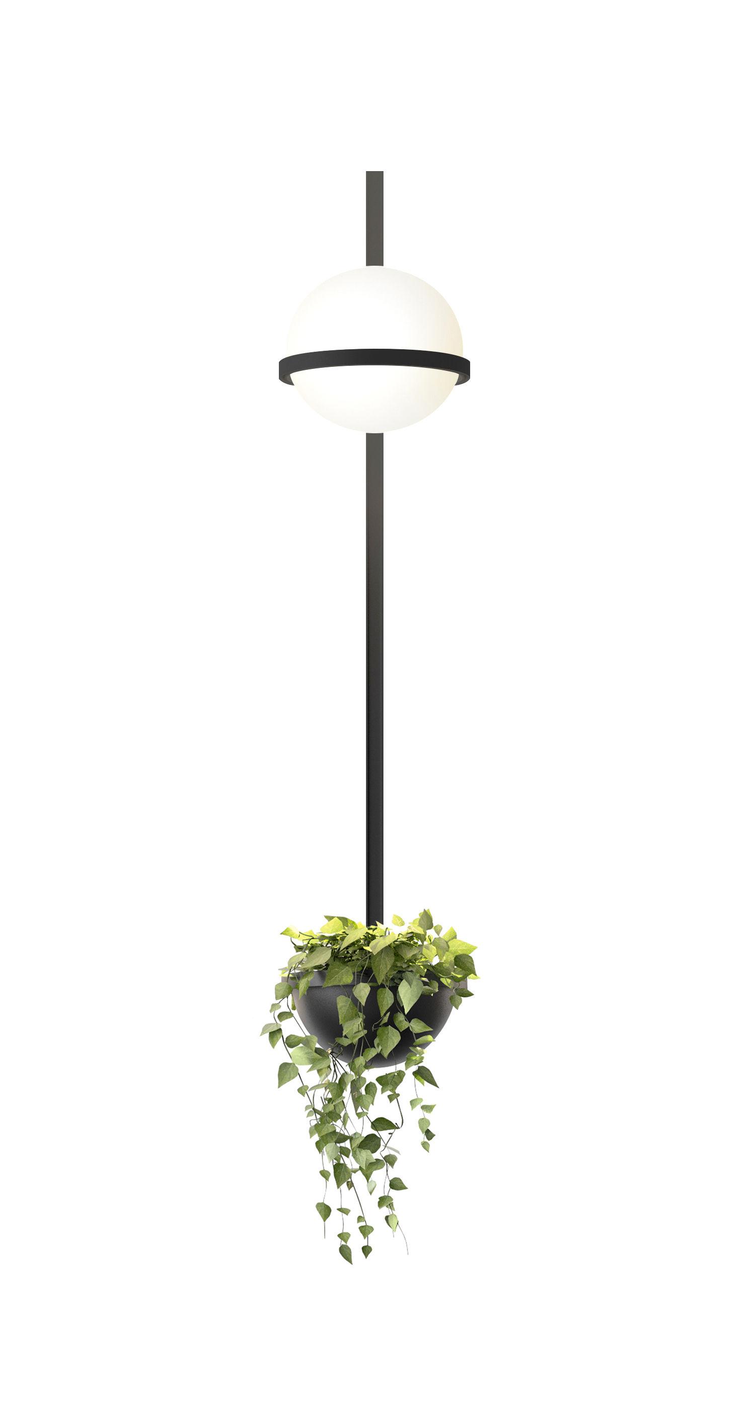 Luminaire - Appliques - Applique Palma / Verticale & jardinière - Vibia - Laqué graphite mat - Aluminium, PMMA, Verre soufflé opalin