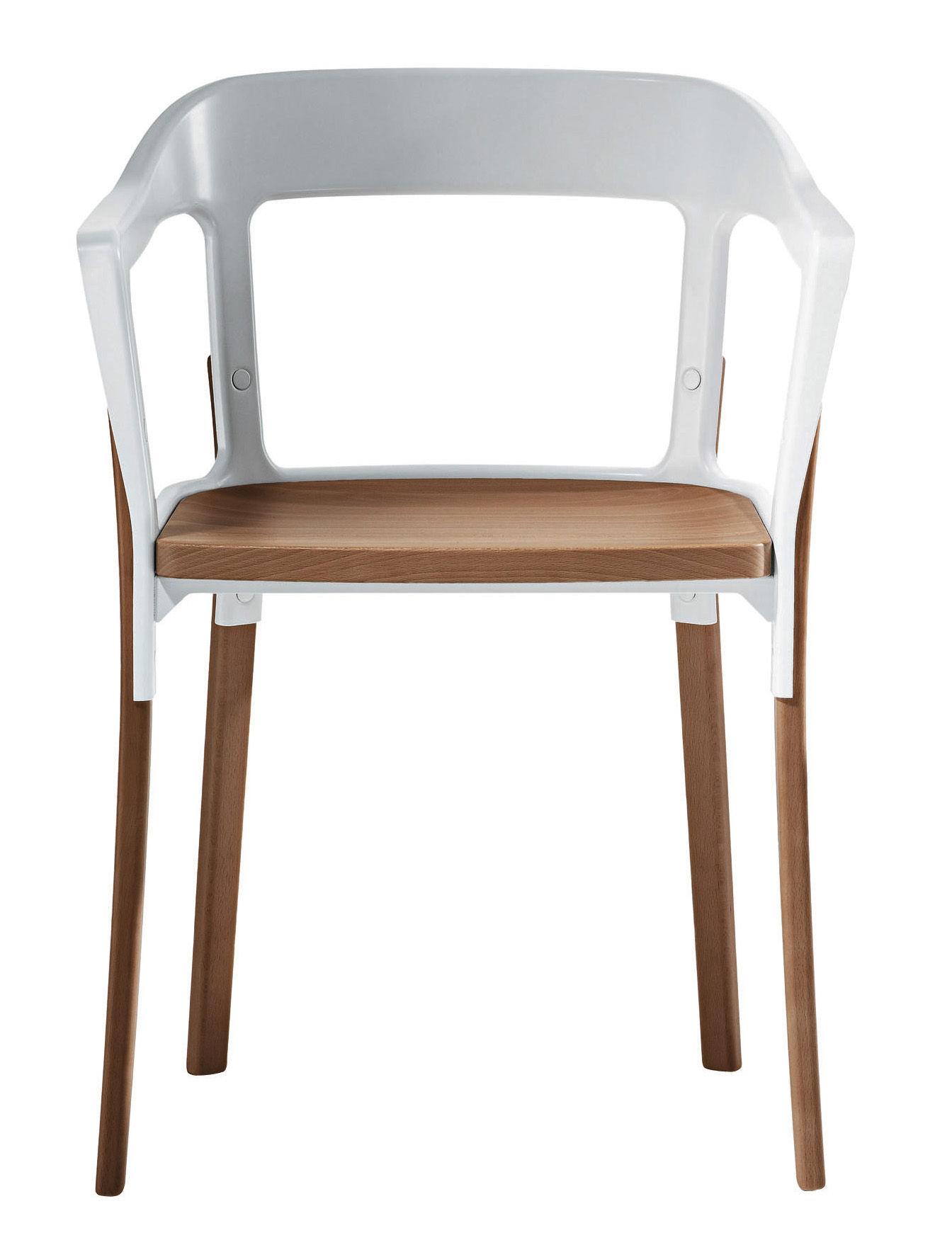Furniture - Chairs - Steelwood Armchair - Wood & metal by Magis - White / Beech - Beechwood, Varnished steel