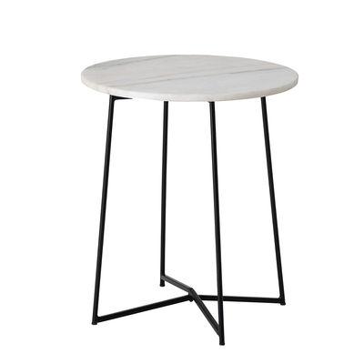 Möbel - Couchtische - Anou Beistelltisch / Marmor - Ø 30,5 cm - Bloomingville - weißer Marmor / Schwarzer Fuß - lackiertes Eisen, Marmor