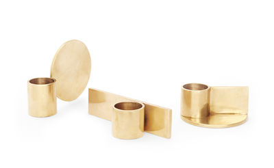 Decoration - Candles & Candle Holders - Fundament Candle stick - / Set of 3 by Frama  - Brass - Solid brass