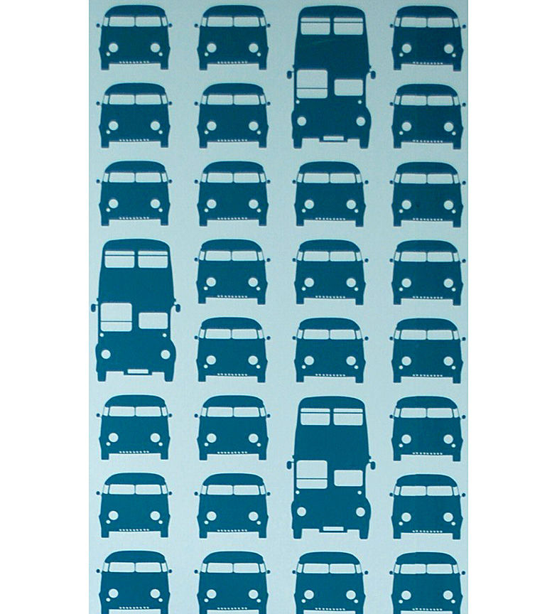 Interni - Per bambini - Carta da parati Rush Hour di Ferm Living - Blu petrolio / Sfondo turchese - Tessuto non tessuto