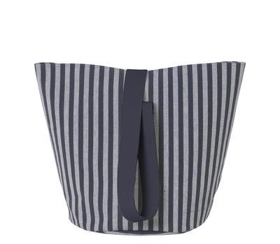 Interni - Contenitori e Cesti - Cestino Chambray - / Medium - Ø 35 x H 42 cm di Ferm Living - Righe / Blu scuro & grigio - Cotone