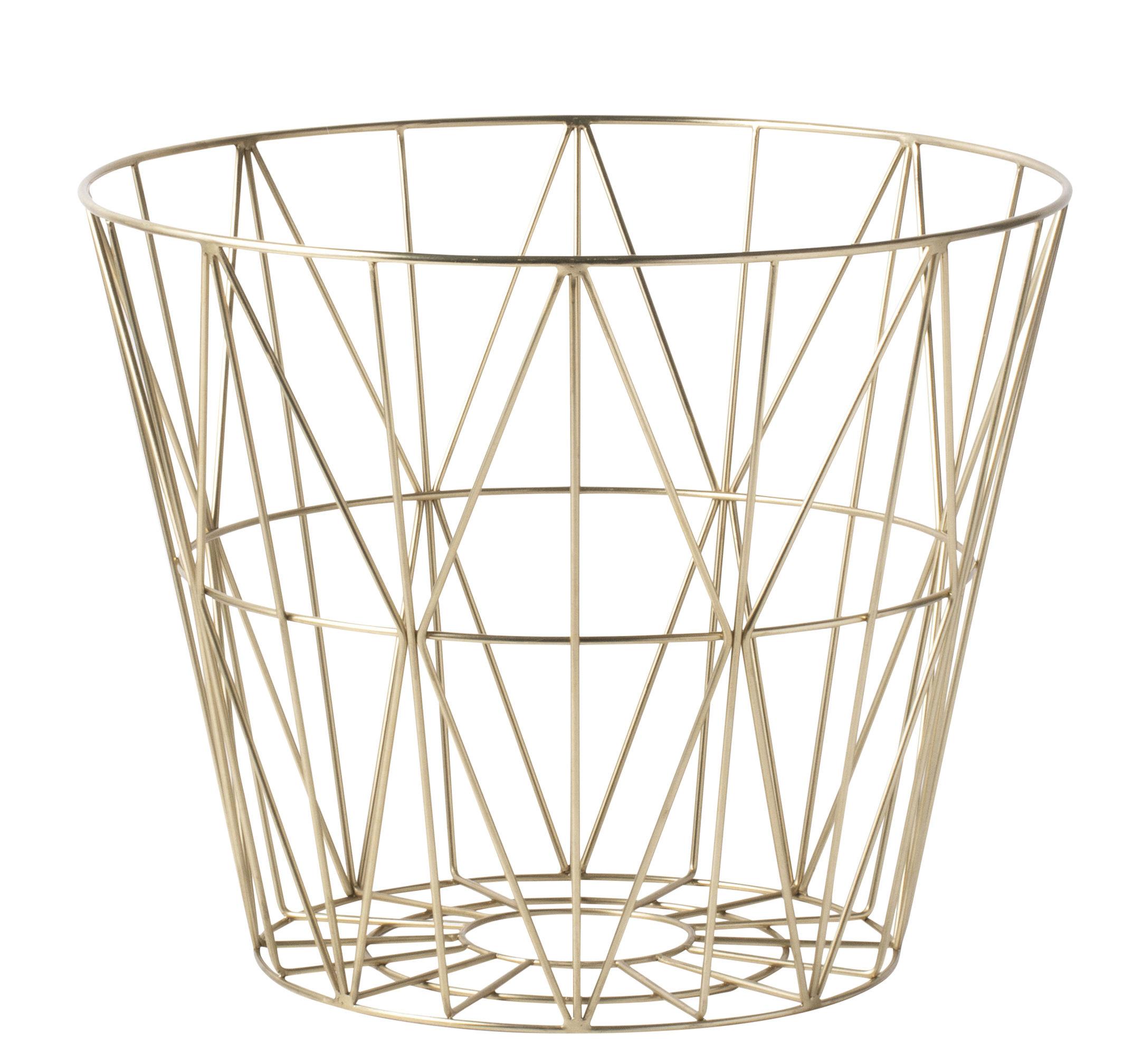 Interni - Cestini e Centrotavola  - Cestino Wire Medium / Ø 50 x H 40 cm - Ferm Living - Ottone - Métal plaqué laiton