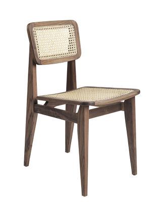 Chaise C-Chair / Cannage - Réédition 1947 - Gubi noyer,cannage naturel en fibre végétale