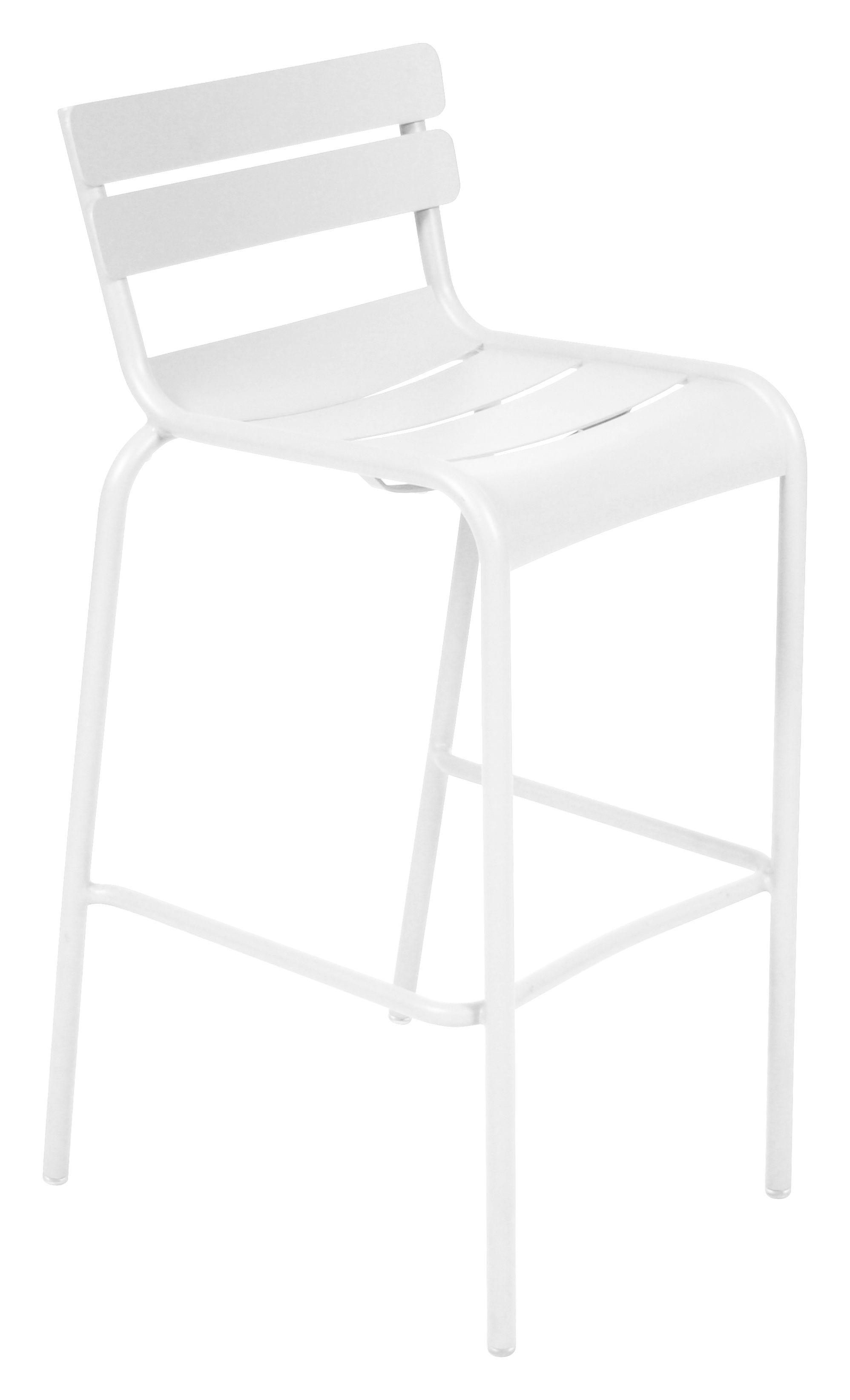 Mobilier - Tabourets de bar - Chaise de bar Luxembourg / H 80 cm - Aluminium - Fermob - Blanc coton - Aluminium laqué