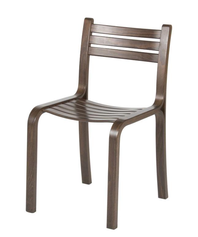 Mobilier - Chaises, fauteuils de salle à manger - Chaise empilable Gabi / Hêtre téinté - Objekto - Noyer - Lamellé-collé de hêtre teinté
