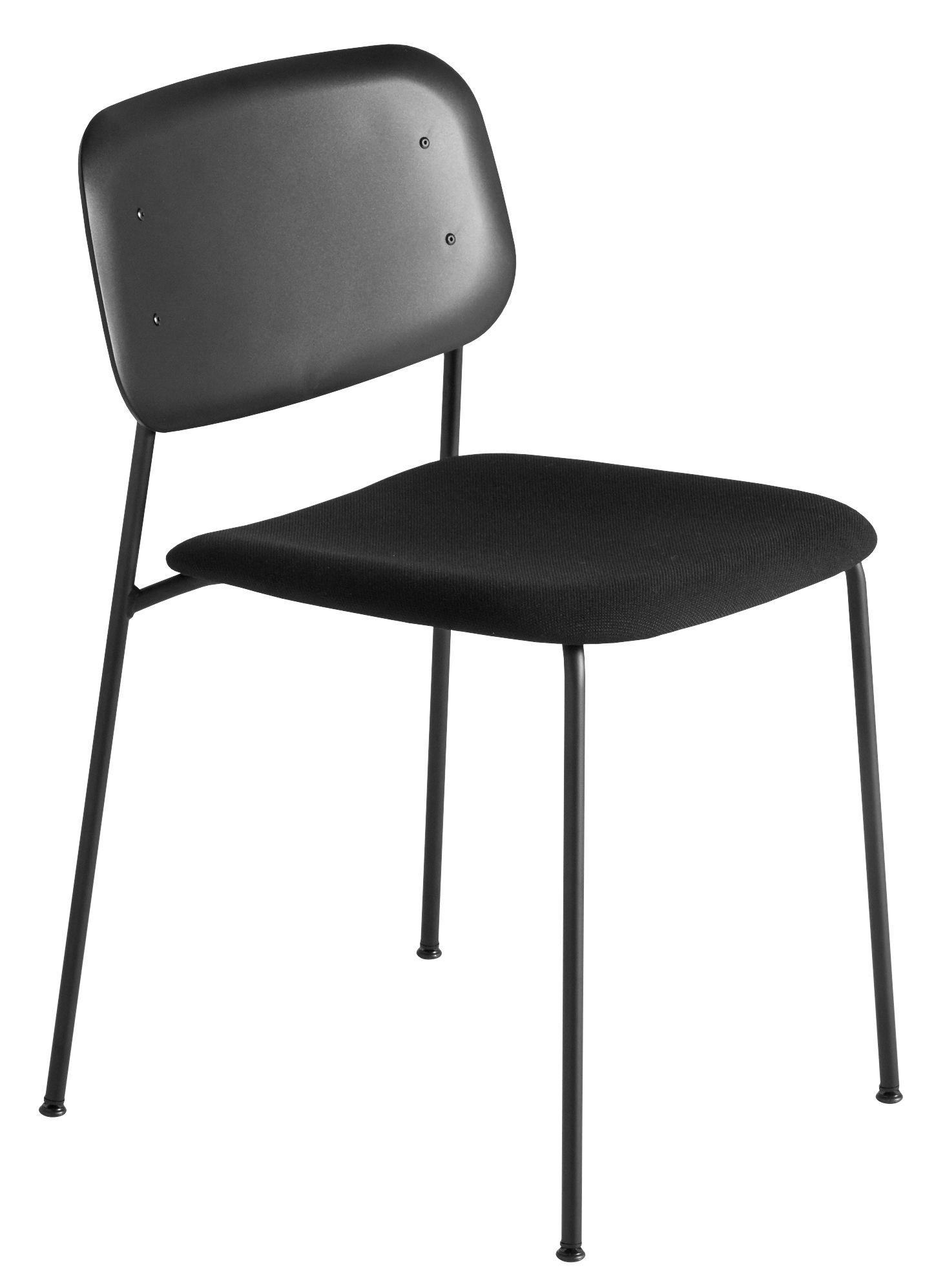 Mobilier - Chaises, fauteuils de salle à manger - Chaise empilable Soft Edge P10 / Tissu & plastique - Hay - Tissu gris / Noir - Acier laqué, Polypropylène, Tissu Kvadrat