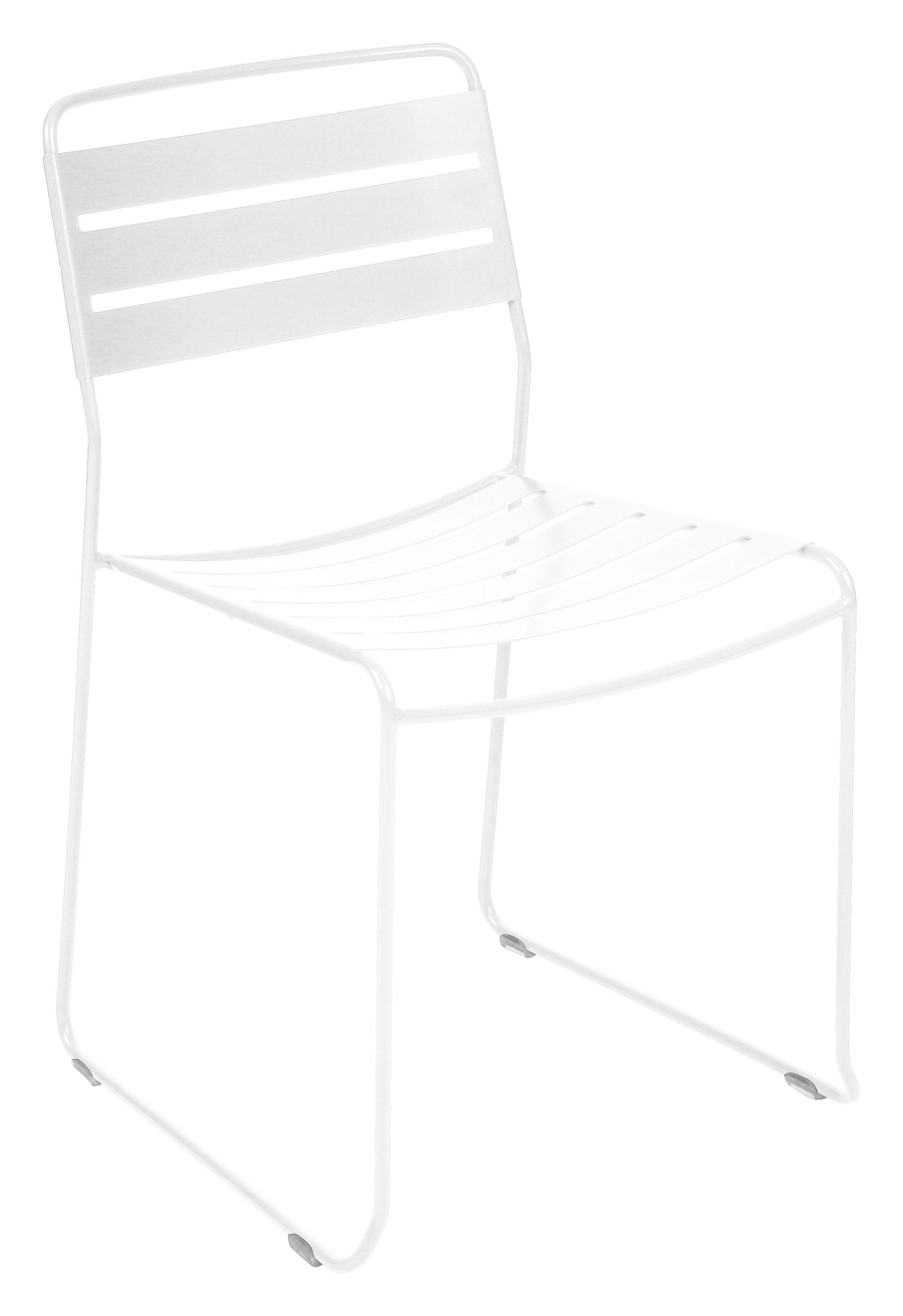 Mobilier - Chaises, fauteuils de salle à manger - Chaise empilable Surprising / Métal - Fermob - Blanc - Acier