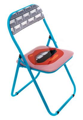 Chaise pliante Bouche rembourrée Seletti bleu,multicolore en matière plastique