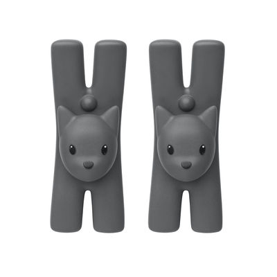 Kitchenware - Kitchen Equipment - Lampo Chat Clasp - / Magnetic - Set of 2 by A di Alessi - Black - Magnet, Thermoplastic resin