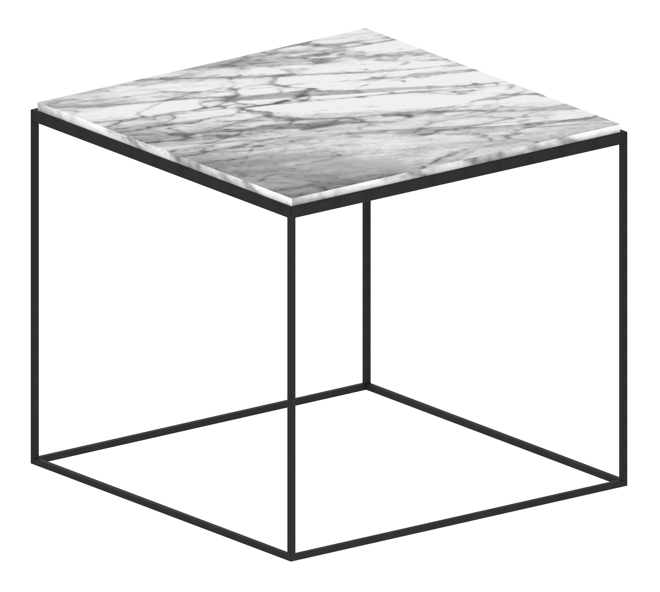 Furniture - Coffee Tables - Slim Marbre Coffee table - 54 x 54 x H 48 cm by Zeus - White marble - Carrare marble, Epoxy painted steel