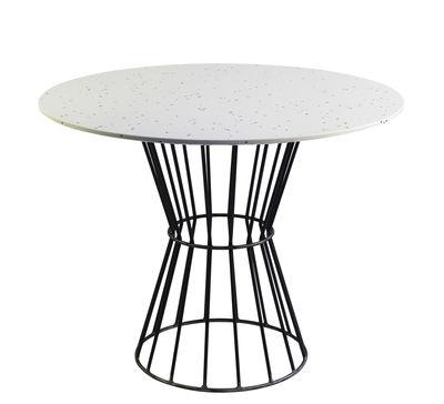 Table ronde Confetti 120 / Terrazzo & métal grillagé - Houtique blanc,noir en métal