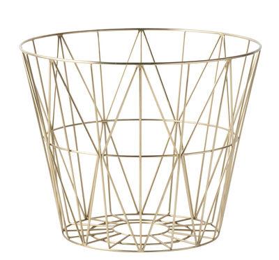 Déco - Corbeilles, centres de table, vide-poches - Corbeille Wire Medium / Ø 50 x H 40 cm - Ferm Living - Laiton - Métal plaqué laiton