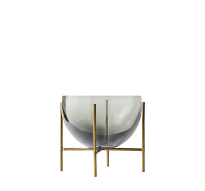 Arts de la table - Saladiers, coupes et bols - Coupe Echasse Small / Ø 13 x H 14 cm - Menu - Fumé & laiton - Laiton massif, Verre