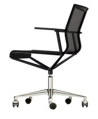 Fauteuil à roulettes Stick Chair / Assise tissu - ICF noir,métal brillant en tissu