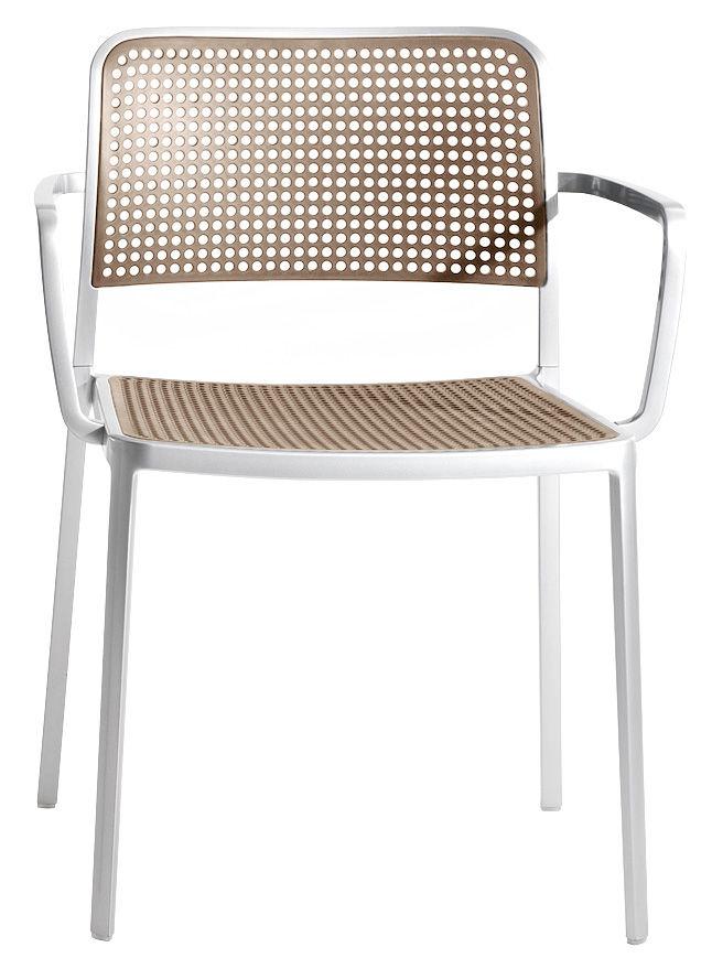 Mobilier - Chaises, fauteuils de salle à manger - Fauteuil empilable Audrey / Structure aluminium mat - Kartell - Structure alu mat / Assise sable - Aluminium verni, Polypropylène