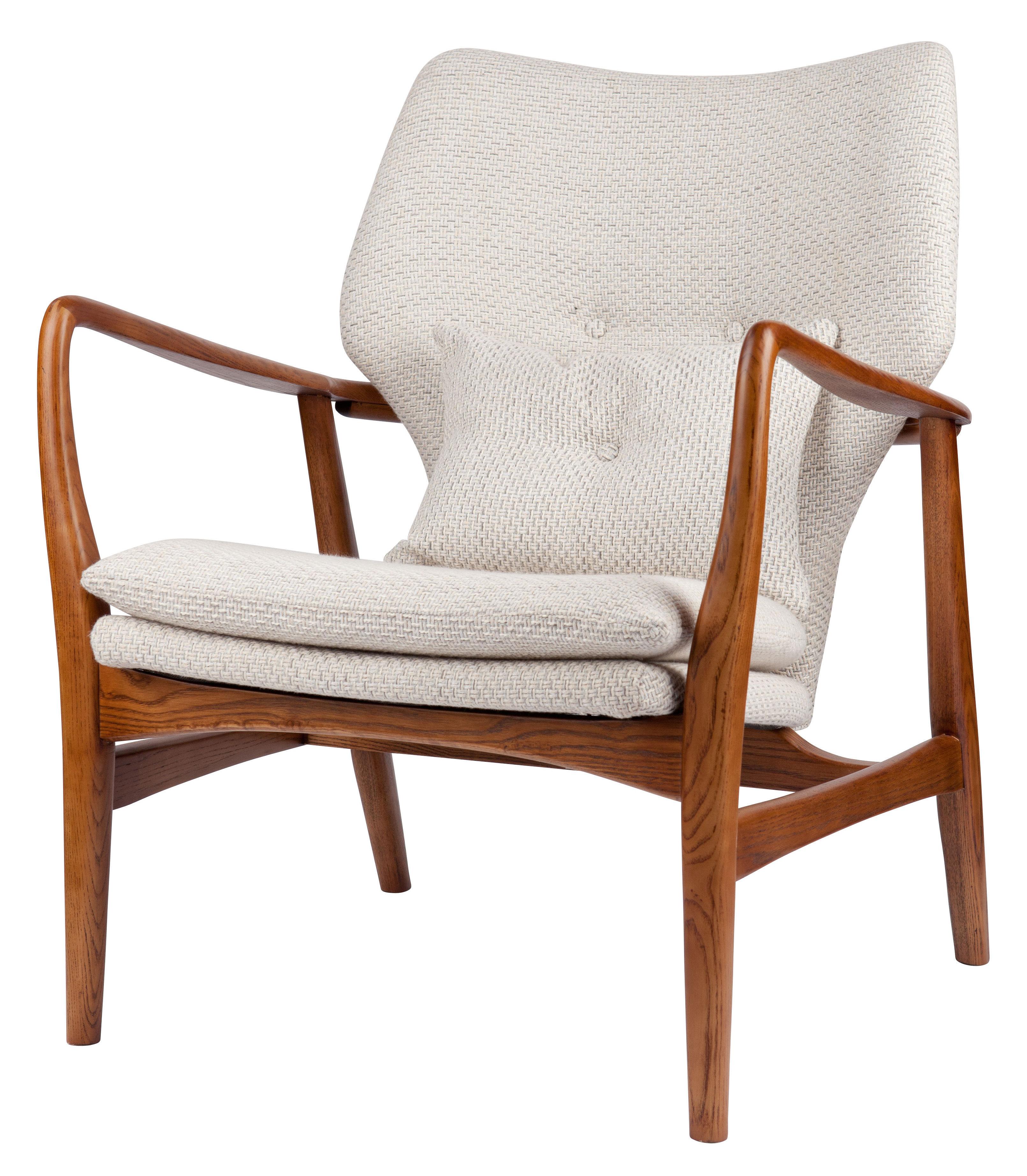 aktion - Moderne Natur - Peggy Gepolsterter Sessel / Stoff & Holz - Pols Potten - Naturfarben / holzfarben - Gewebe, lackierte Esche, Schaumstoff