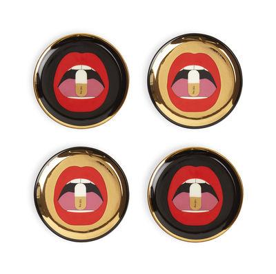 Tableware - Table Mats & Trivets - Full Dose Glass coaster - / Set of 4 - Porcelain by Jonathan Adler - Full Dose / Black & gold - China