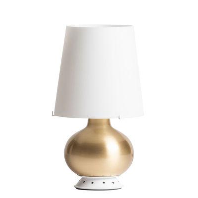 Illuminazione - Lampade da tavolo - Lampada da tavolo Fontana Medium - / H 53 cm - Vetro & ottone di Fontana Arte - Bianco / Ottone - Ottone, vetro soffiato