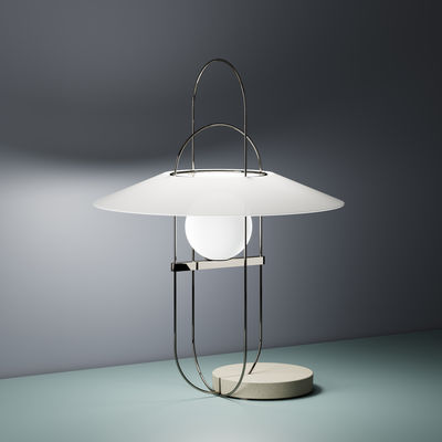 Illuminazione - Lampade da tavolo - Lampada da tavolo Setareh - / LED - Ø 45 x H 61 cm di Fontana Arte - Cromato, Grigio, bianco - Cemento, Metallo, Vetro soffiato a bocca
