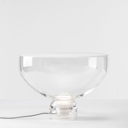 Luminaire - Lampes de table - Lampe de table Lightline Large / Ø 45 x H 31 cm - Verre - Brokis - Transparent / Base transparente - Verre soufflé