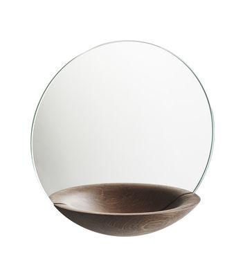 Déco - Miroirs - Miroir mural Pocket Small / Vide-poche intégré - Ø 26 cm - Woud - Chêne fumé - Chêne massif fumé, Verre