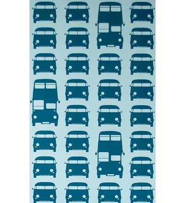 Déco - Pour les enfants - Papier peint Rush Hour / 1 rouleau - Larg 53 cm - Ferm Living - Bleu pétrole / Fond tuquoise - Toile intissée