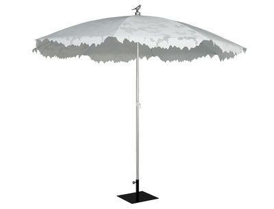 Jardin - Parasols - Parasol Shadylace XL Ø 350 cm - Sywawa - Parasol blanc / mât alu / oiseau argent - Aluminium anodisé, Toile polyester